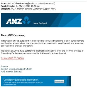 Email Banking Scams Example