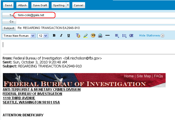 FEDERAL BUREAU OF INVESTIGATION, (FBI) - Scams
