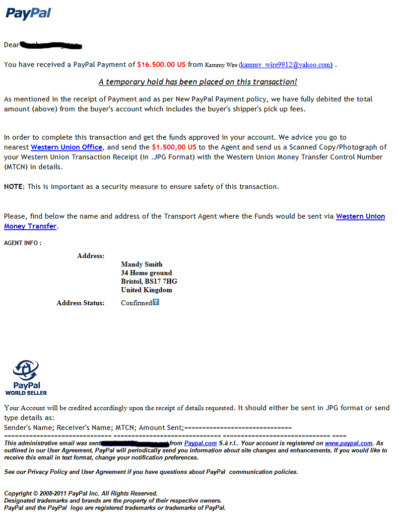 PayPal Buyer Scam