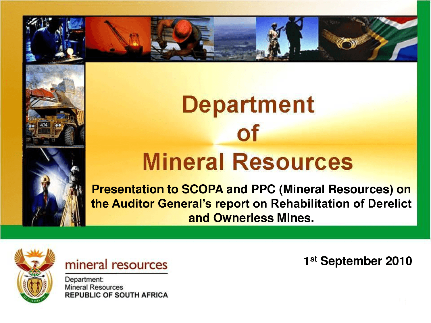 DEPARTMENT OF ENERGY MINERAL RESOURCES JOHANNEBUR