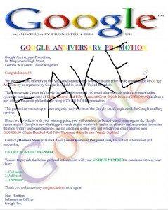 Google Winning Notification