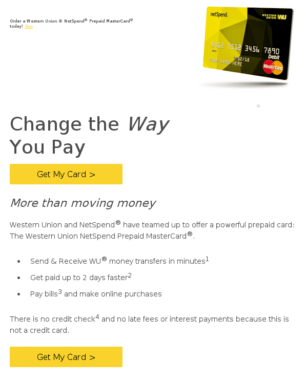 Email Scam: Netspend - Western Union MasterCard