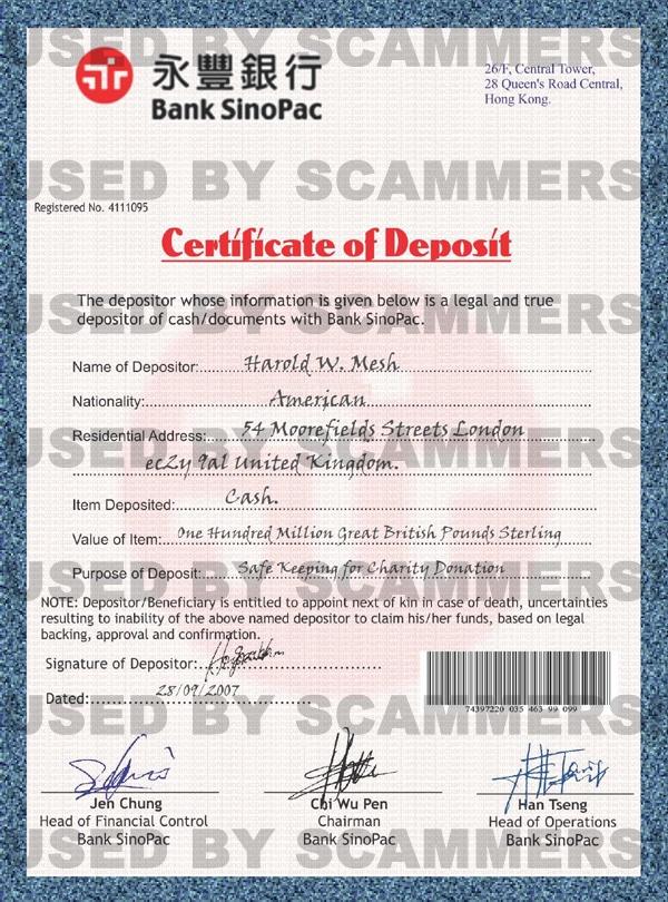 Deposit-Certificate—Bank-USEDBYSCAMMERS